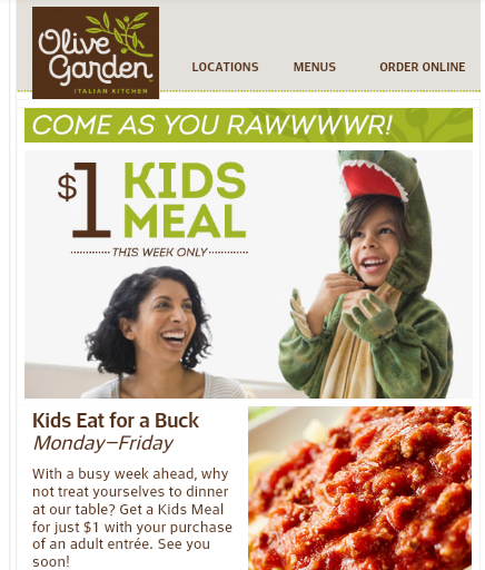 Kids Eat For 1 This Week At Olive Garden Live Life Half